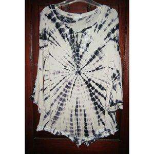 Ava James S Tunic Top Shirt Blouse Tie Dye Long